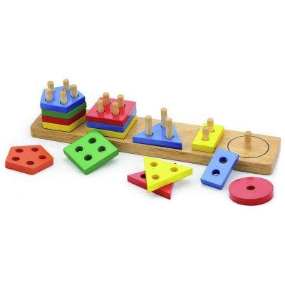 לוח התאמת צורות גיאומטריות ולימוד צבעים מעץ 16 חלקים