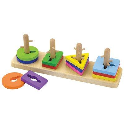 משחק תיאום צורות לפי פינים מעץ מלא