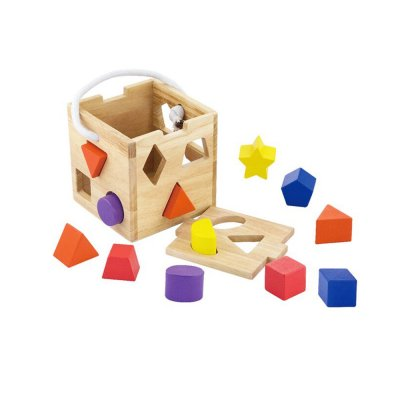קוביית תיאום צורות ולימוד צבעים מעץ מלא + 12 חלקים