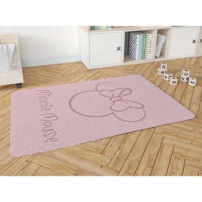 שטיח פלנל מודפס רך ונעים למגע לחדרי ילדים – מיני מאוס ורוד