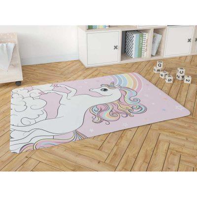 שטיח פלנל מודפס רך ונעים למגע לחדרי ילדים – חד קרן