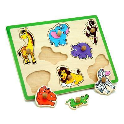 פאזל כפתורי עץ – לוח חיות