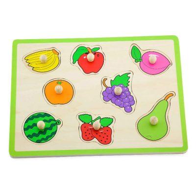 פאזל כפתורי עץ בלוח פירות