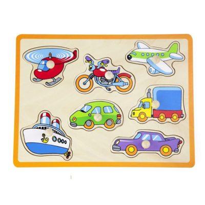 פאזל כפתורי עץ – כלי רכב שיט ומטוס