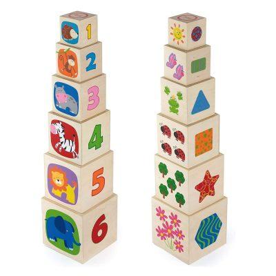 מגדל קוביות עשוי עץ התאמת מספר ותמונה