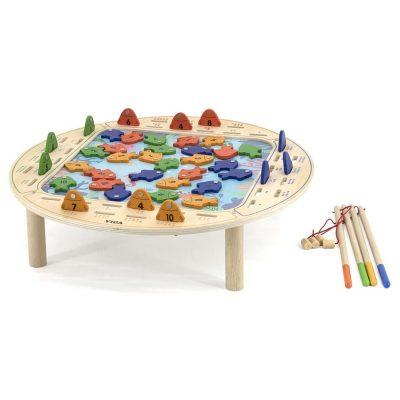 שולחן דייג מעץ ל-4 דייגים