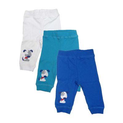 סט 3 מכנסי זחילה פלאנל תכלת/לבן חורף